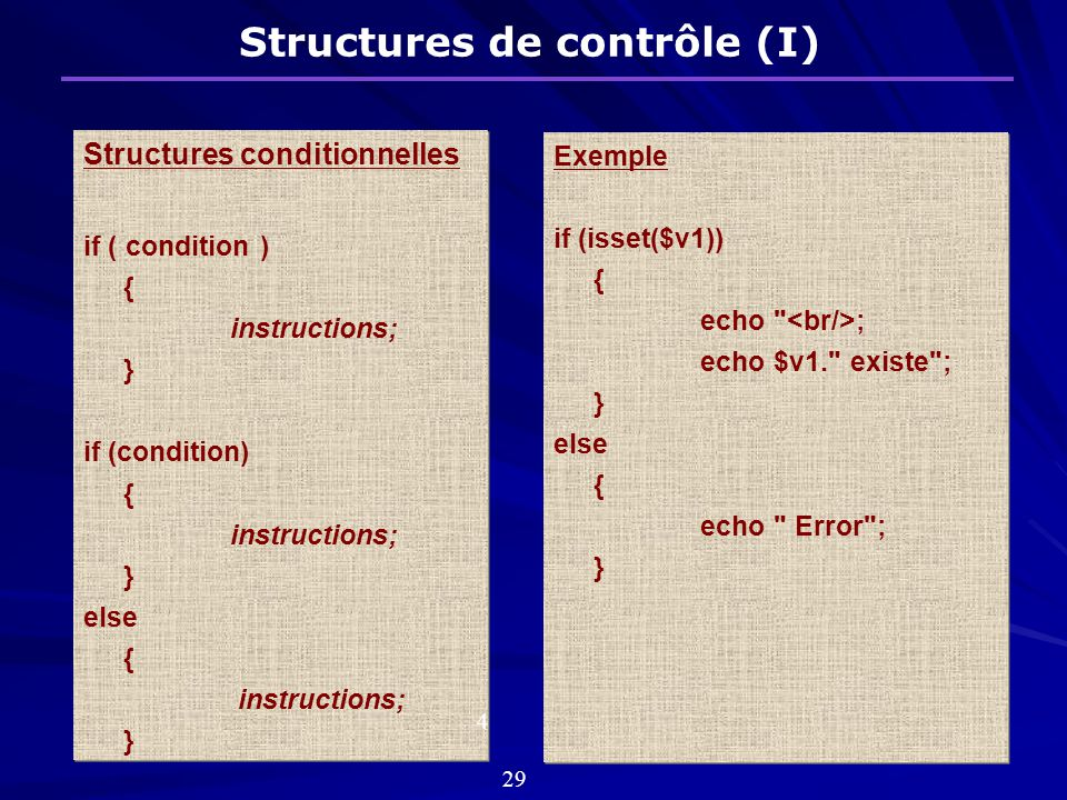 Structures de contrôle (I)