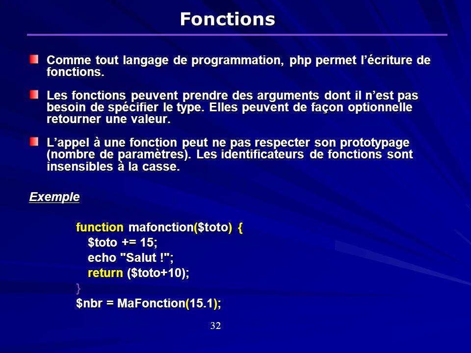 Fonctions Comme tout langage de programmation, php permet l'écriture de fonctions.