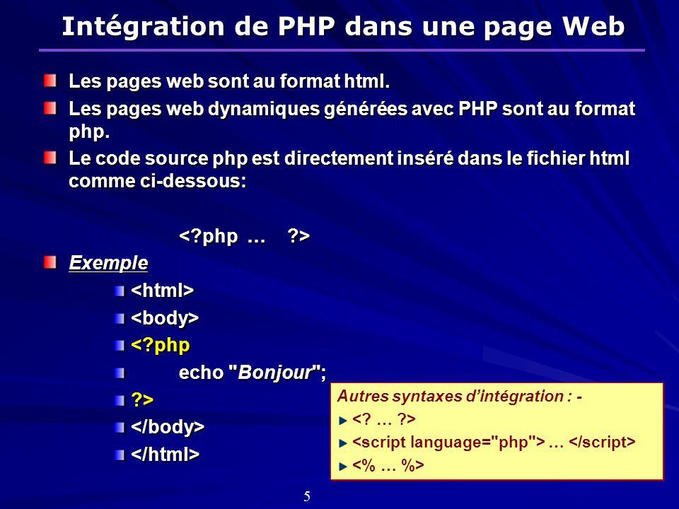 Intégration de PHP dans une page Web