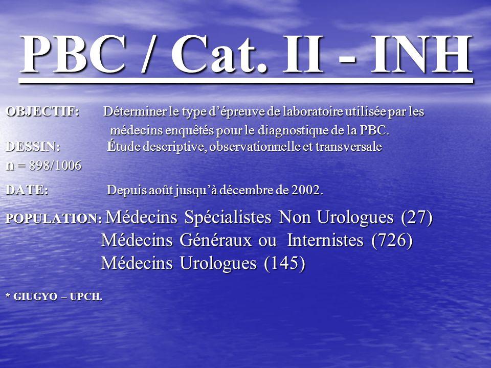 PBC / Cat. II - INH Médecins Généraux ou Internistes (726)