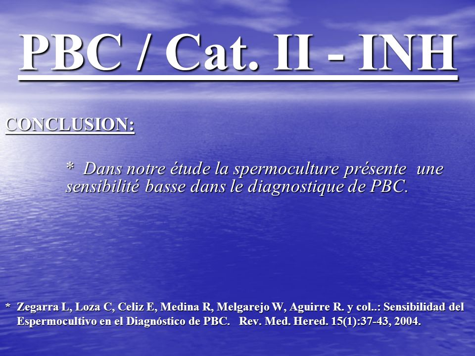 PBC / Cat. II - INH CONCLUSION: