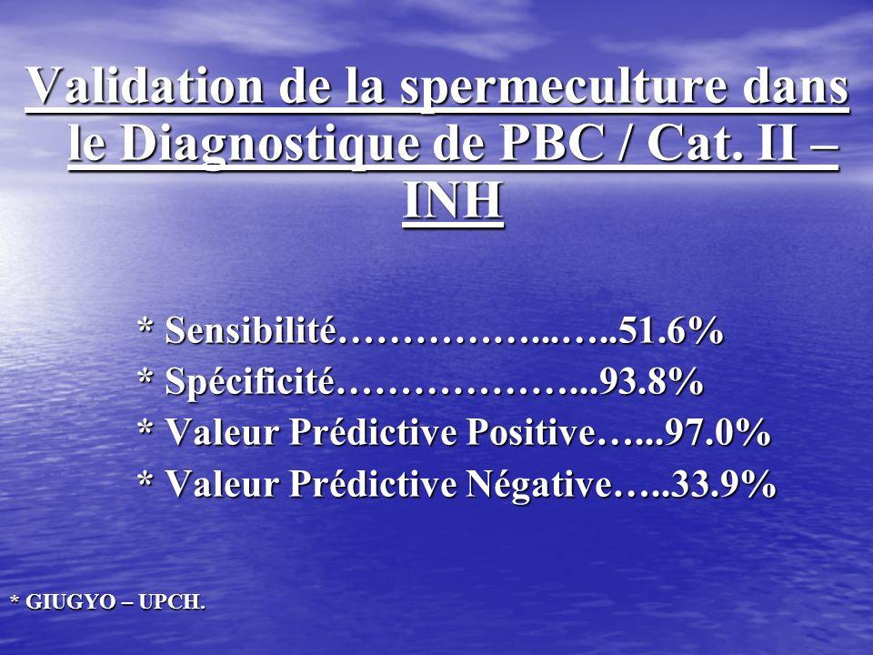 Validation de la spermeculture dans le Diagnostique de PBC / Cat