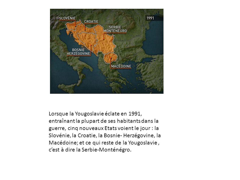 Lorsque la Yougoslavie éclate en 1991, entraînant la plupart de ses habitants dans la guerre, cinq nouveaux Etats voient le jour : la Slovénie, la Croatie, la Bosnie- Herzégovine, la Macédoine; et ce qui reste de la Yougoslavie , c'est à dire la Serbie-Monténégro.