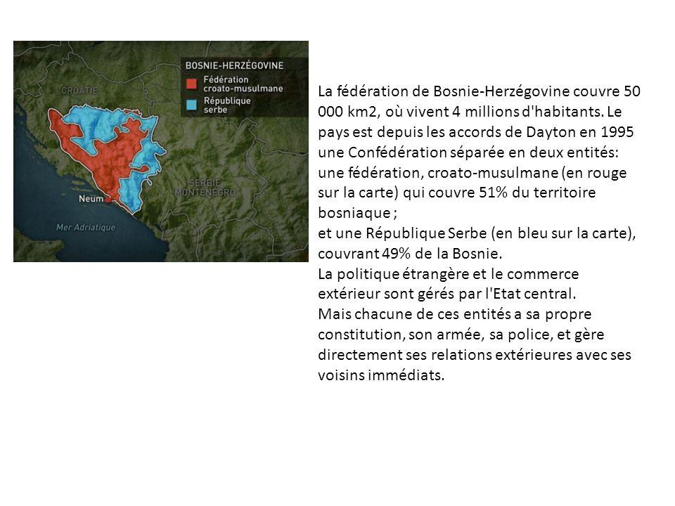 La fédération de Bosnie-Herzégovine couvre 50 000 km2, où vivent 4 millions d habitants.