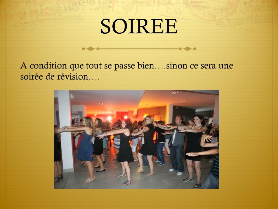 SOIREE A condition que tout se passe bien….sinon ce sera une soirée de révision….