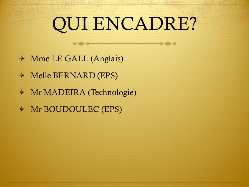 QUI ENCADRE Mme LE GALL (Anglais) Melle BERNARD (EPS)