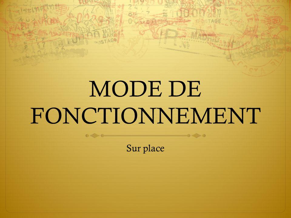 MODE DE FONCTIONNEMENT
