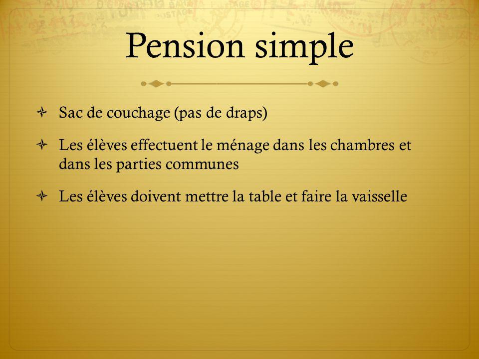 Pension simple Sac de couchage (pas de draps)