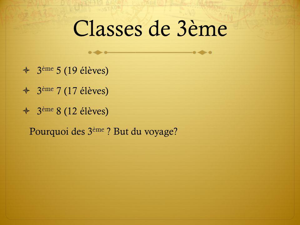 Classes de 3ème 3ème 5 (19 élèves) 3ème 7 (17 élèves)