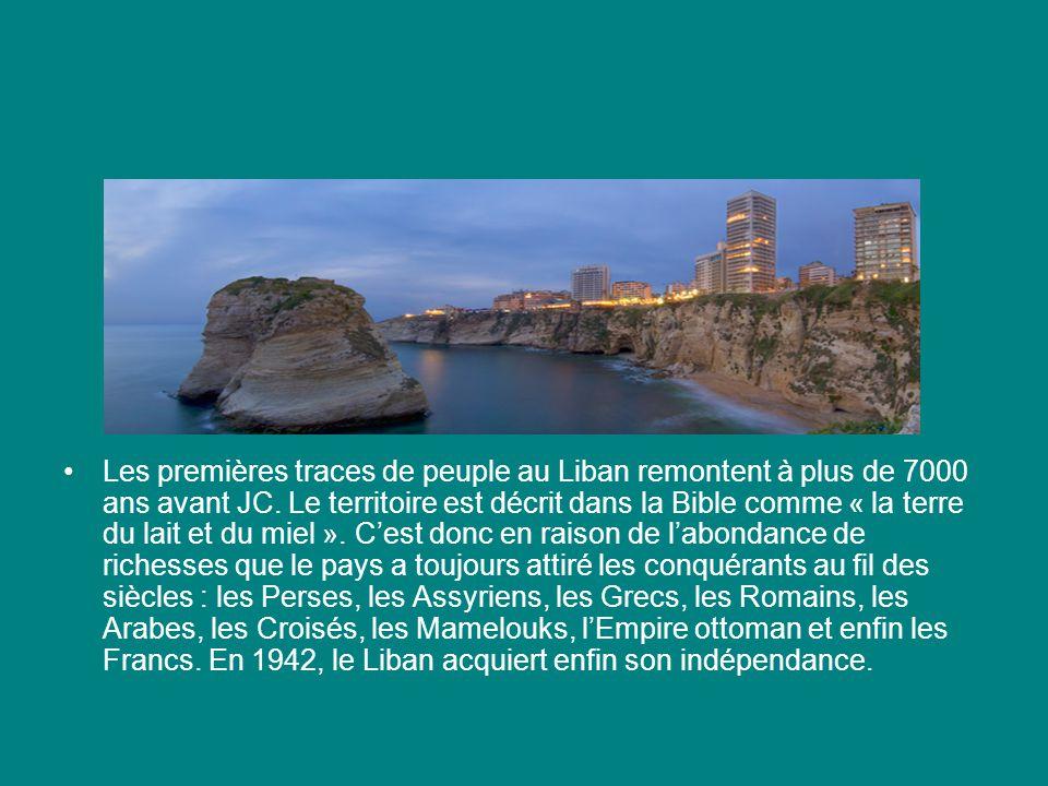 Les premières traces de peuple au Liban remontent à plus de 7000 ans avant JC.