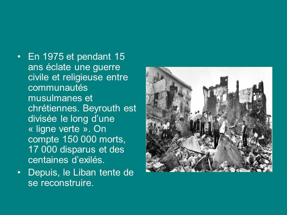 En 1975 et pendant 15 ans éclate une guerre civile et religieuse entre communautés musulmanes et chrétiennes. Beyrouth est divisée le long d'une « ligne verte ». On compte 150 000 morts, 17 000 disparus et des centaines d'exilés.