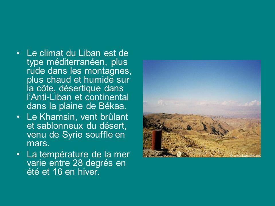 Le climat du Liban est de type méditerranéen, plus rude dans les montagnes, plus chaud et humide sur la côte, désertique dans l'Anti-Liban et continental dans la plaine de Békaa.