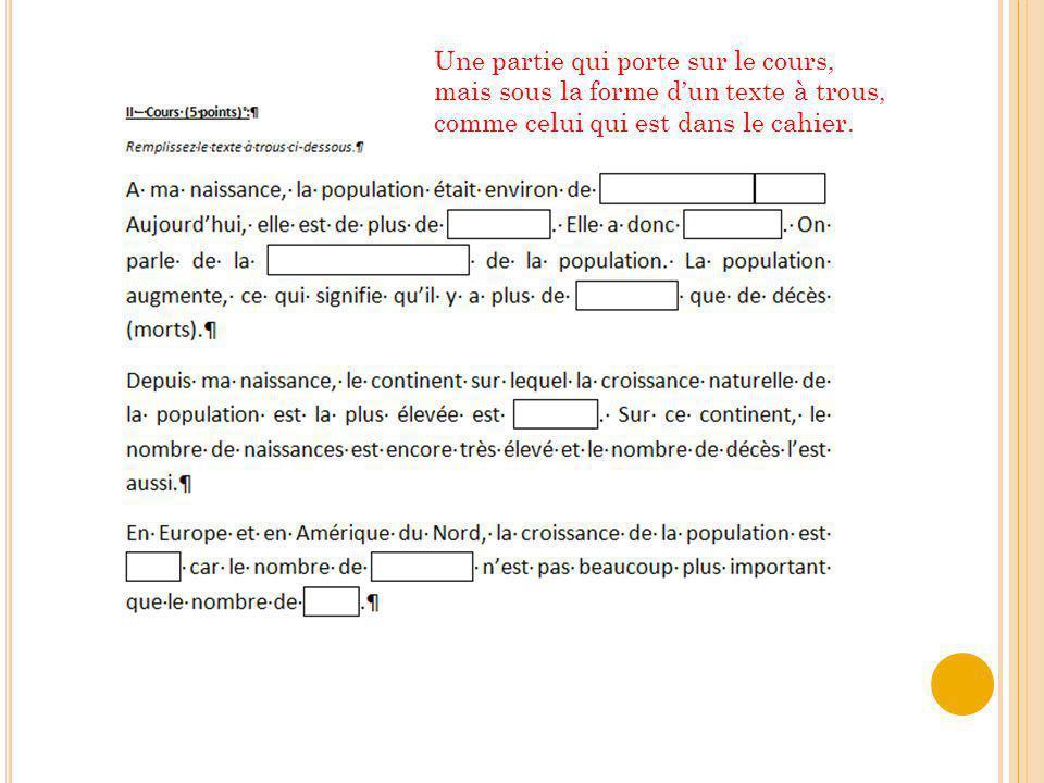 Une partie qui porte sur le cours, mais sous la forme d'un texte à trous, comme celui qui est dans le cahier.