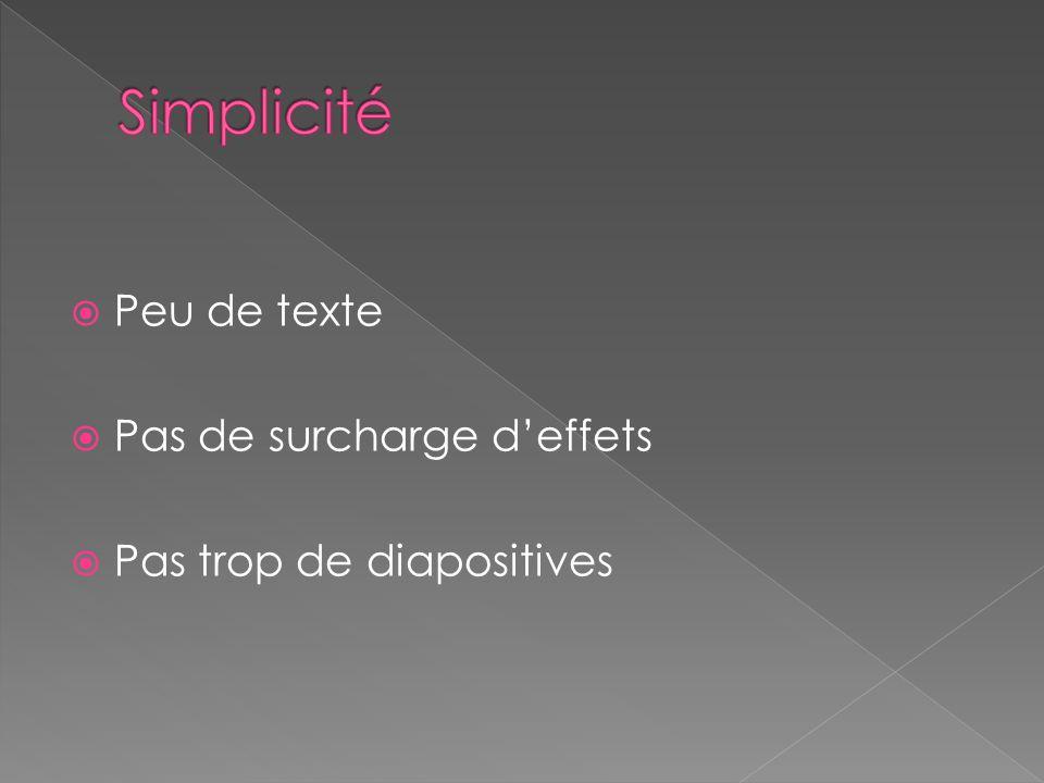Simplicité Peu de texte Pas de surcharge d'effets