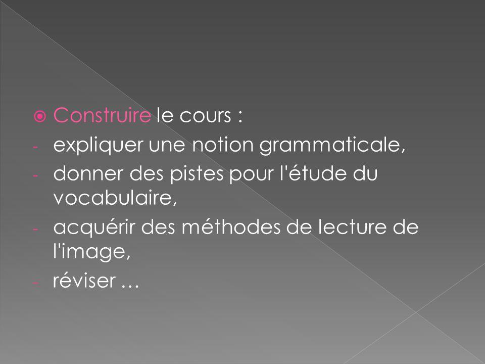 Construire le cours : expliquer une notion grammaticale, donner des pistes pour l étude du vocabulaire,
