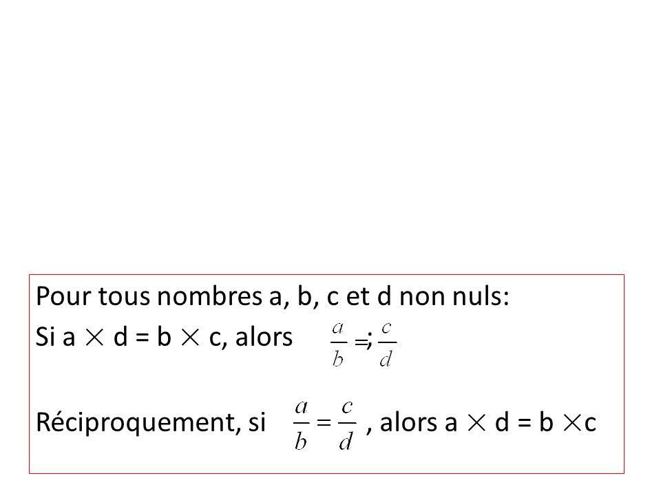 Pour tous nombres a, b, c et d non nuls: