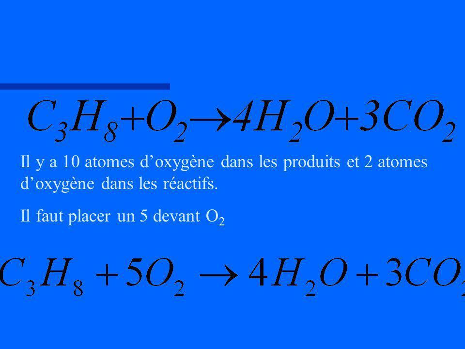 Il y a 10 atomes d'oxygène dans les produits et 2 atomes d'oxygène dans les réactifs.