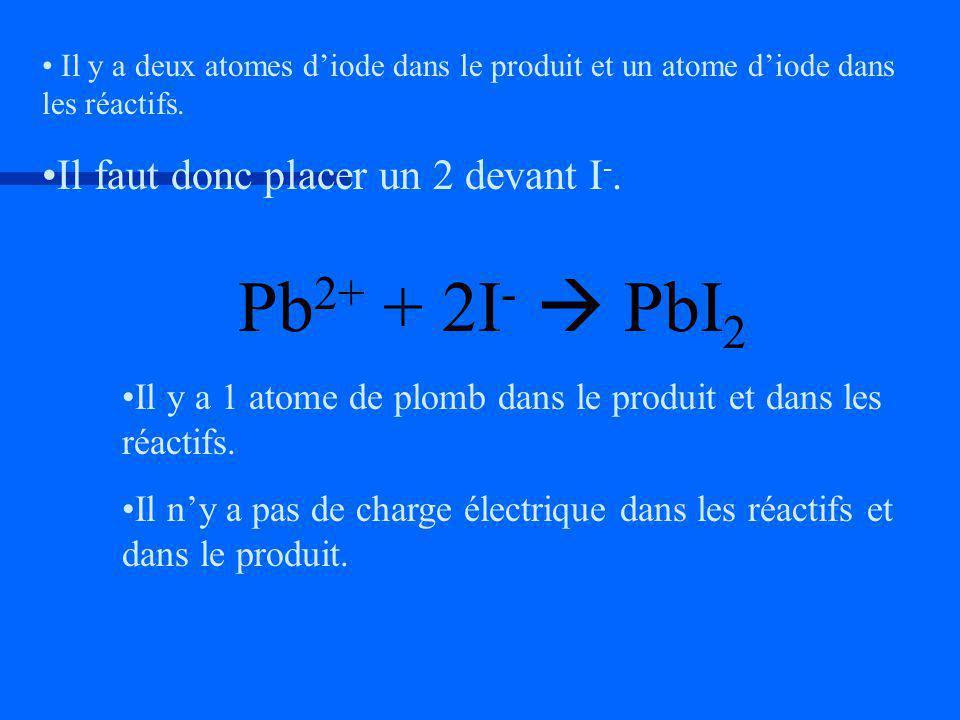 Pb2+ + 2I-  PbI2 Il faut donc placer un 2 devant I-.