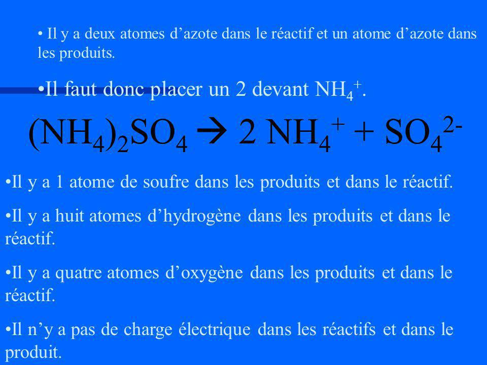 (NH4)2SO4  2 NH4+ + SO42- Il faut donc placer un 2 devant NH4+.