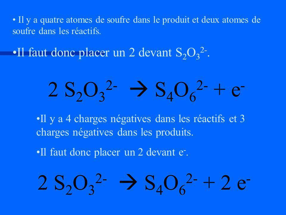 2 S2O32-  S4O62- + e- 2 S2O32-  S4O62- + 2 e-