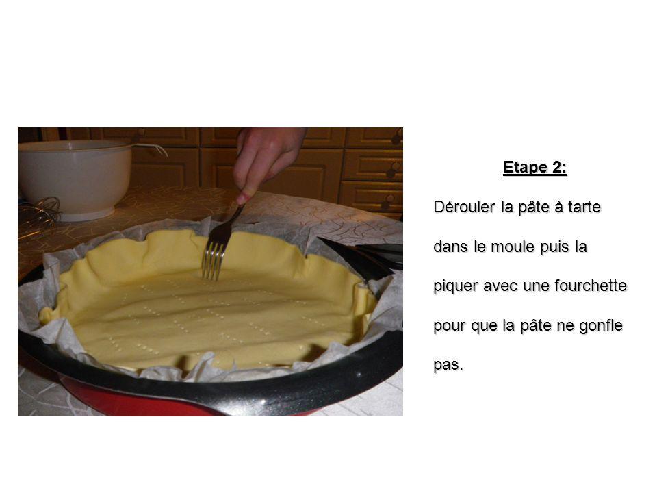 Etape 2: Dérouler la pâte à tarte. dans le moule puis la. piquer avec une fourchette. pour que la pâte ne gonfle.