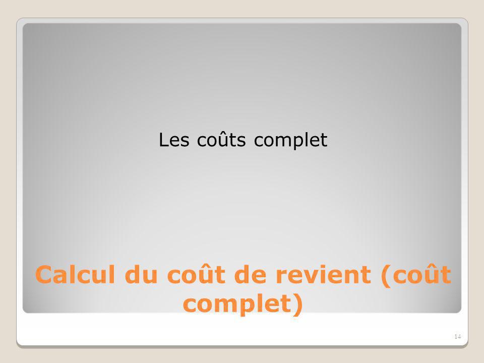 Calcul du coût de revient (coût complet)