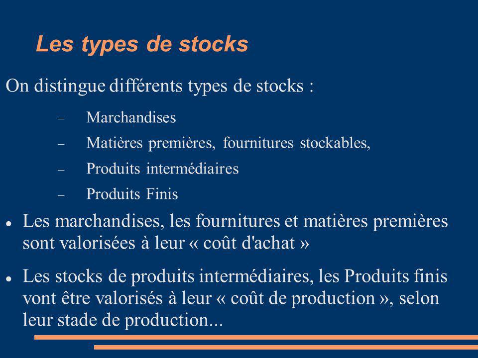 Les types de stocks On distingue différents types de stocks :