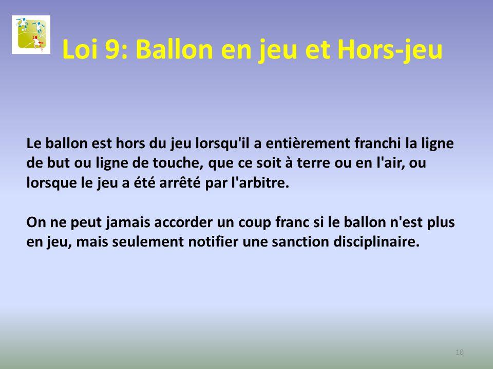 Loi 9: Ballon en jeu et Hors-jeu
