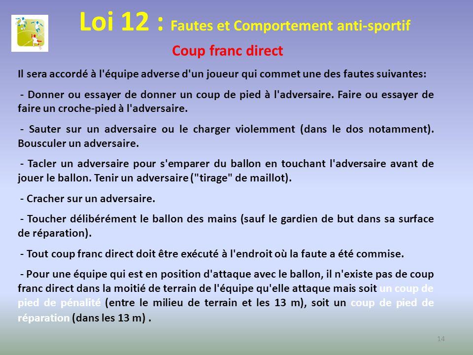 Loi 12 : Fautes et Comportement anti-sportif