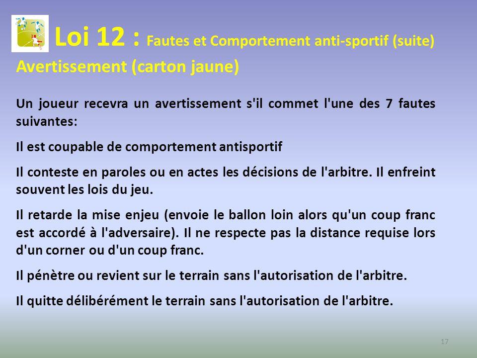 Loi 12 : Fautes et Comportement anti-sportif (suite)