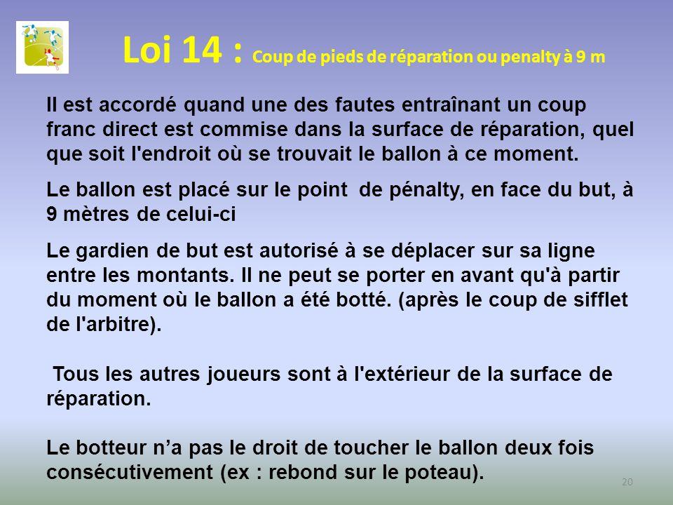 Loi 14 : Coup de pieds de réparation ou penalty à 9 m