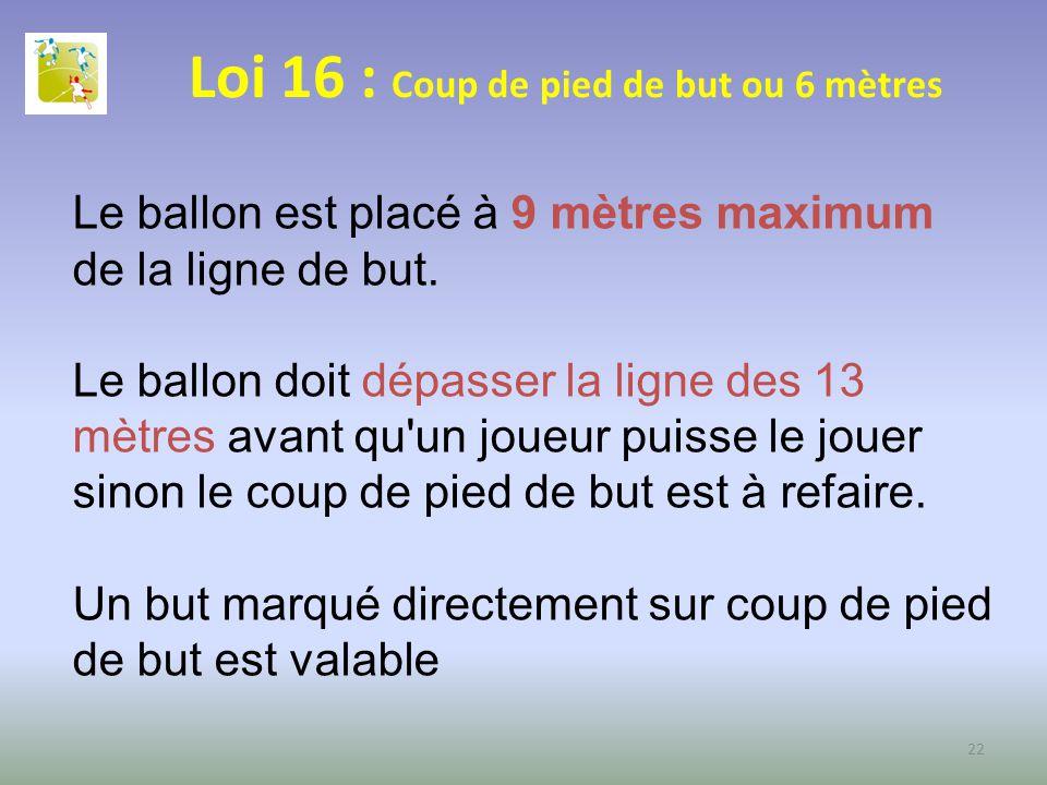 Loi 16 : Coup de pied de but ou 6 mètres