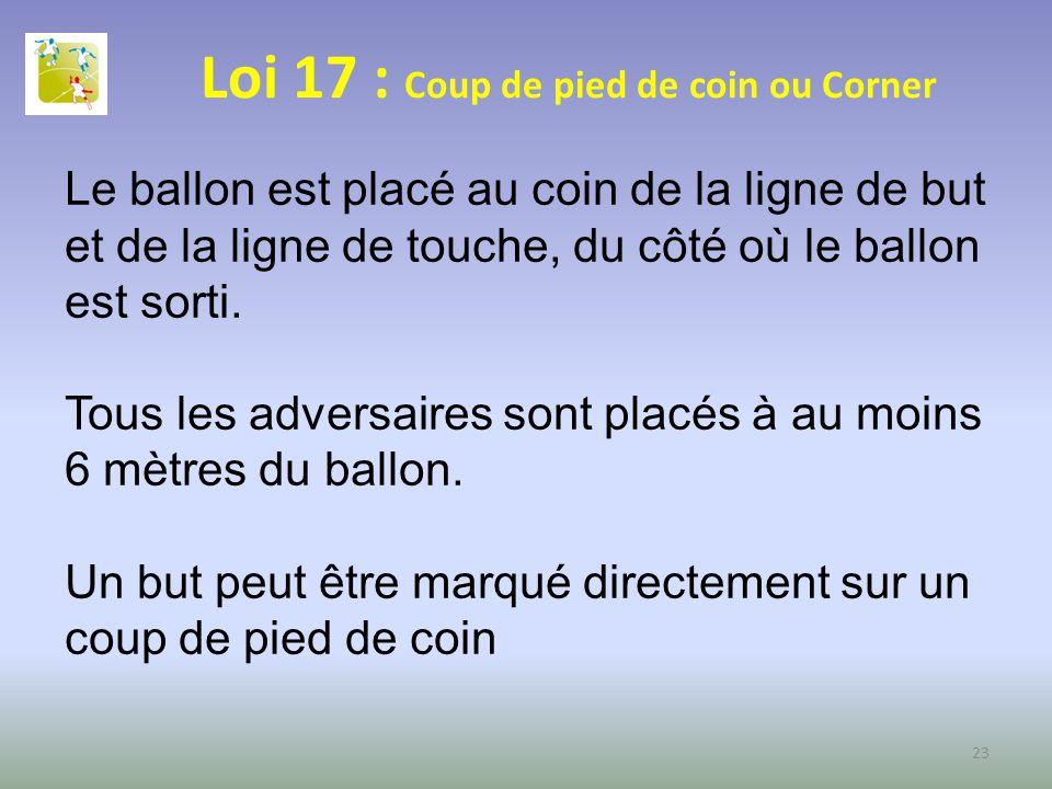 Loi 17 : Coup de pied de coin ou Corner