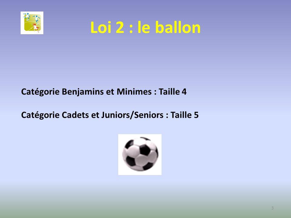 Loi 2 : le ballon Catégorie Benjamins et Minimes : Taille 4