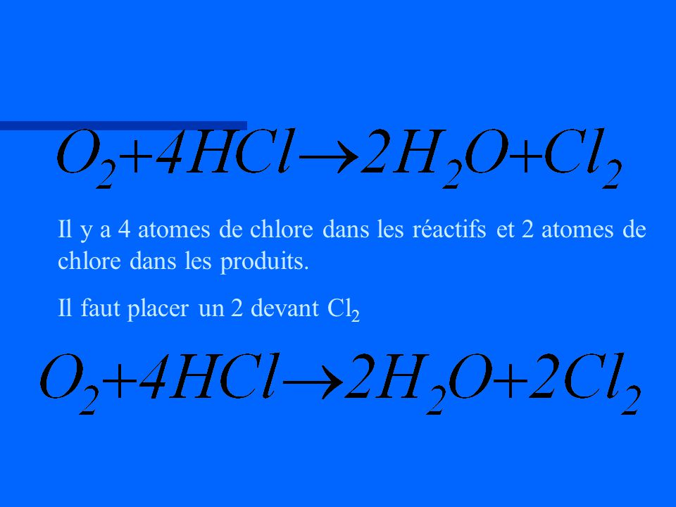 Il y a 4 atomes de chlore dans les réactifs et 2 atomes de chlore dans les produits.