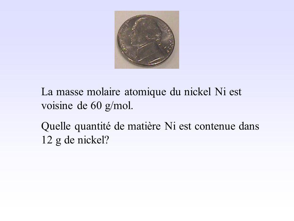 La masse molaire atomique du nickel Ni est voisine de 60 g/mol.