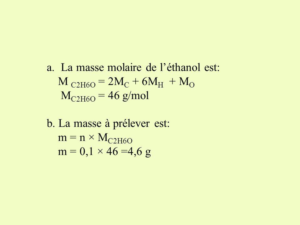 La masse molaire de l'éthanol est: