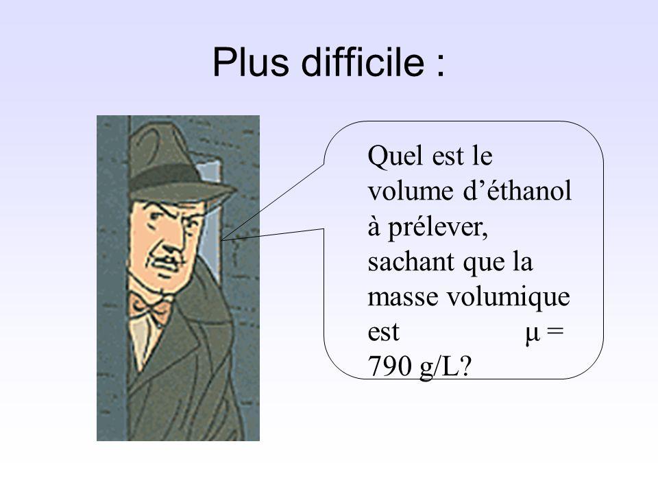 Plus difficile : Quel est le volume d'éthanol à prélever, sachant que la masse volumique est μ = 790 g/L