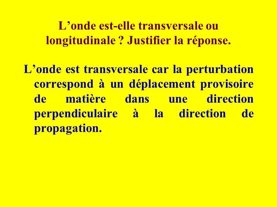 L'onde est-elle transversale ou longitudinale Justifier la réponse.