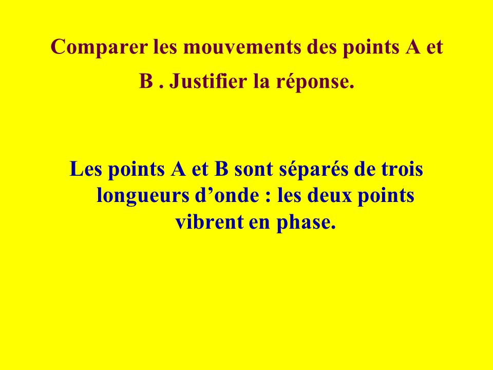 Comparer les mouvements des points A et B . Justifier la réponse.