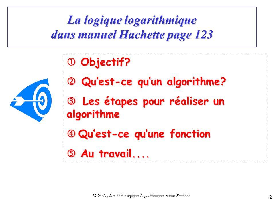 La logique logarithmique dans manuel Hachette page 123