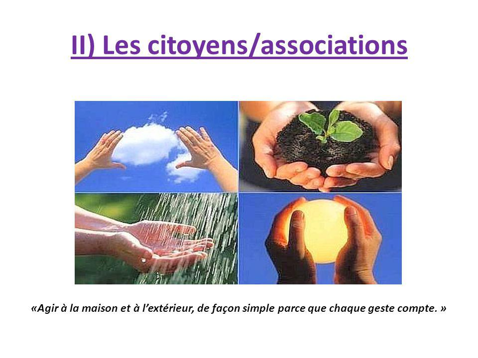 II) Les citoyens/associations