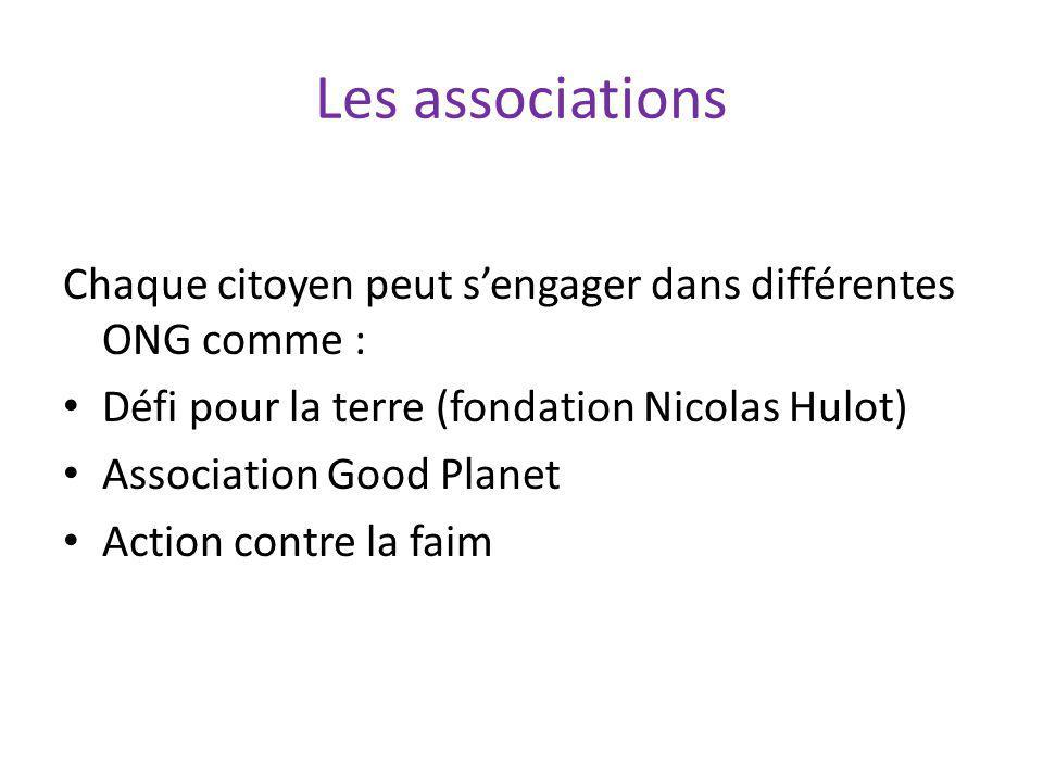 Les associations Chaque citoyen peut s'engager dans différentes ONG comme : Défi pour la terre (fondation Nicolas Hulot)