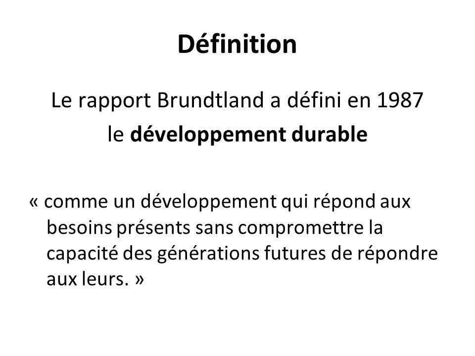 Définition Le rapport Brundtland a défini en 1987