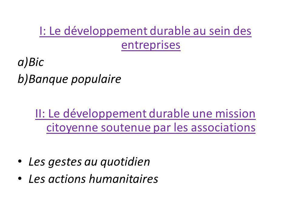 I: Le développement durable au sein des entreprises