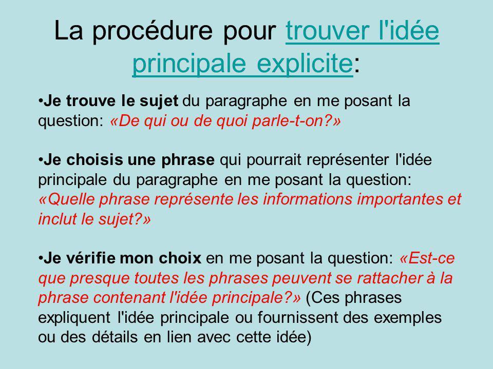 La procédure pour trouver l idée principale explicite: