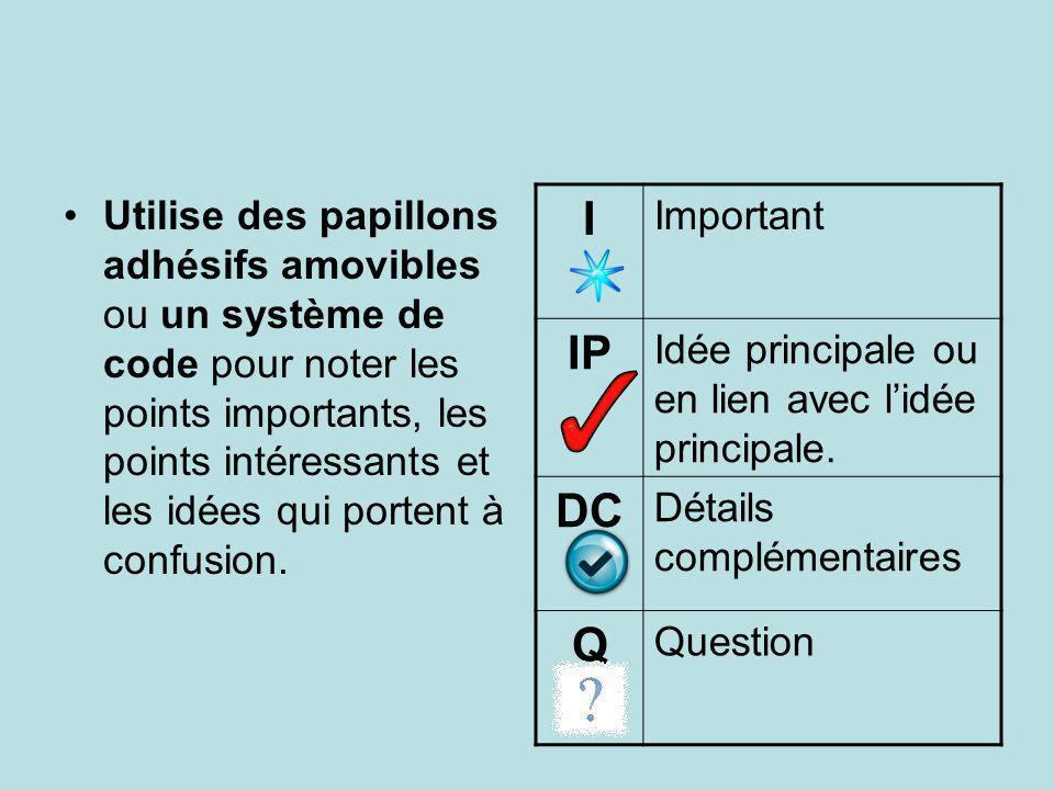 I IP DC Q Important Idée principale ou en lien avec l'idée principale.