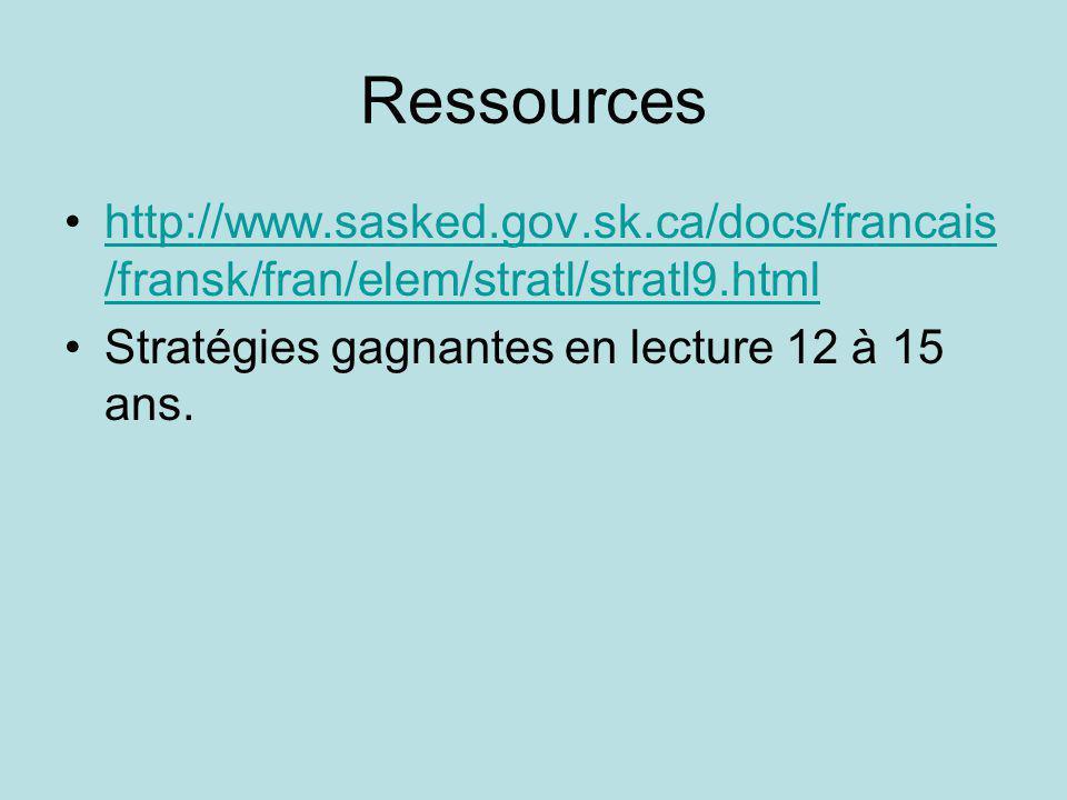 Ressources http://www.sasked.gov.sk.ca/docs/francais/fransk/fran/elem/stratl/stratl9.html.