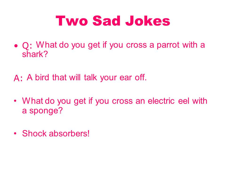 Two Sad Jokes Q: What do you get if you cross a parrot with a shark