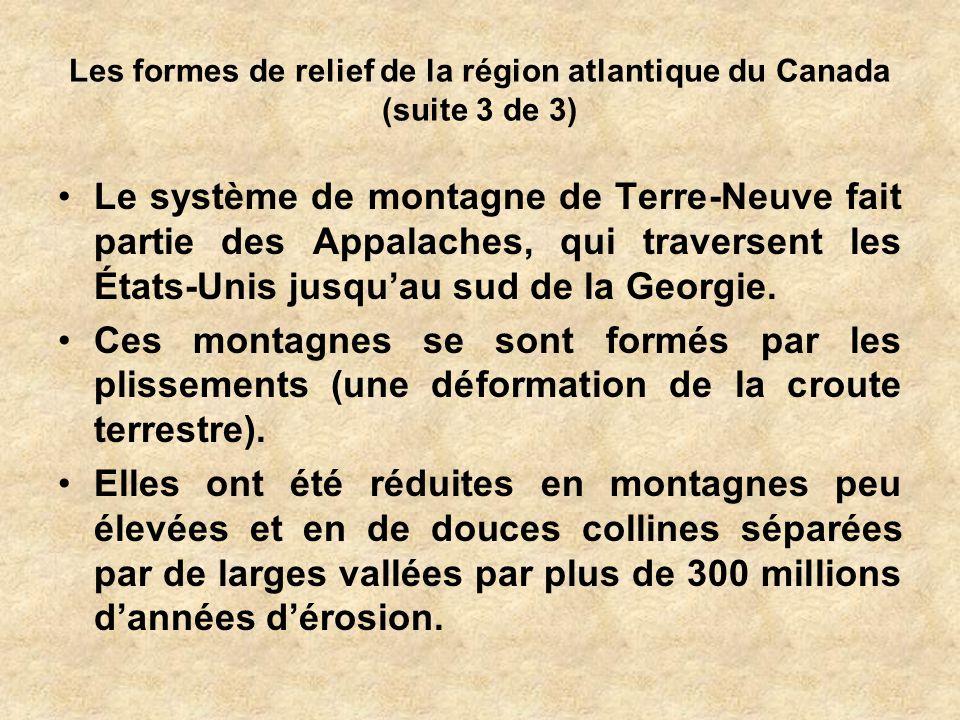 Les formes de relief de la région atlantique du Canada (suite 3 de 3)